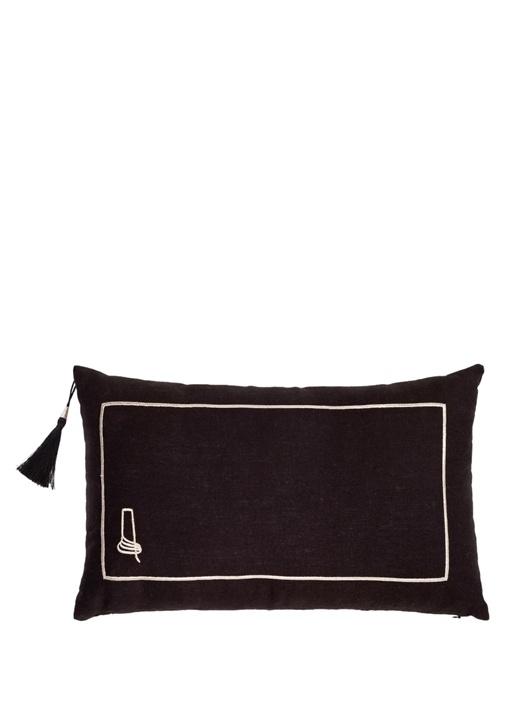 Can Siyah 30x50 Dekoratif Keten Yastık