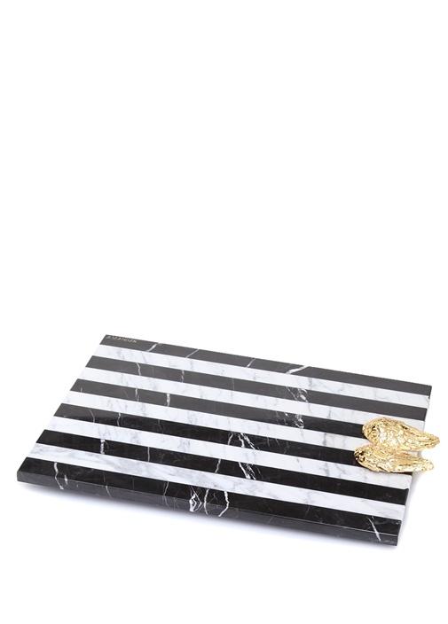 Jophiel Siyah Beyaz Çizgili Mermer Servis Tabağı