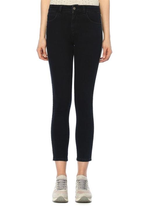Skinny Fit Siyah Yanları Top Şeritli Jean Pantolon