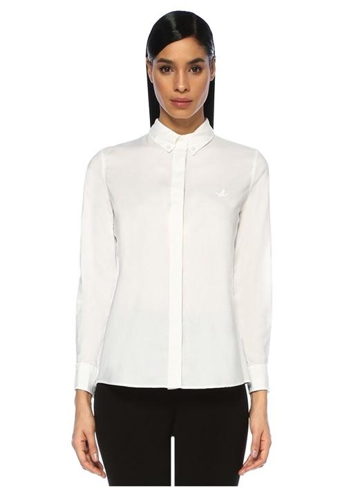 Beyaz Yıkamalı Oxford Gömlek