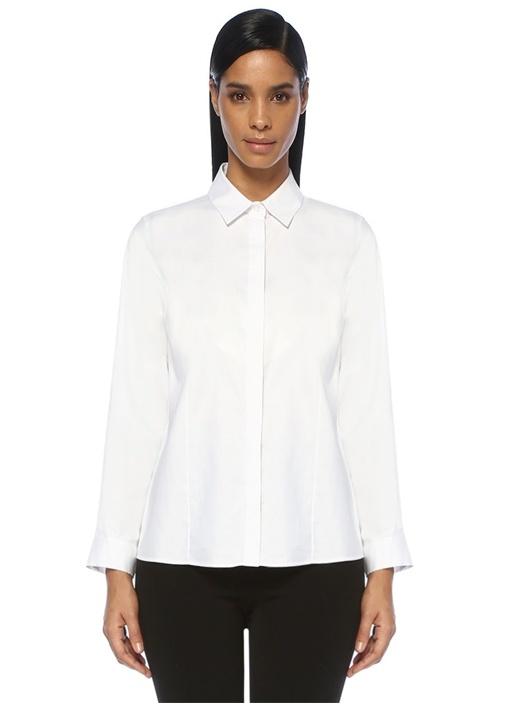 Beyaz Gizli Düğmeli Streç Oxford Gömlek