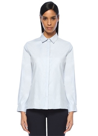 Beymen Club Kadın Mavi Gizli Düğmeli Streç Oxford Gömlek XL EU