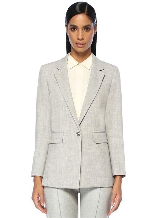 Gri Kelebek Yaka Pastoral Astarlı Blazer Ceket