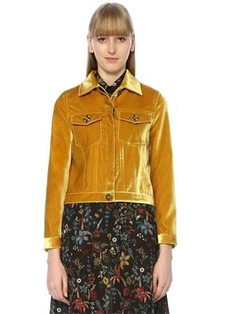 Beymen Club Kadın Sarı Polo Yaka Taş İşlemeli Kadife Ceket 38 TR