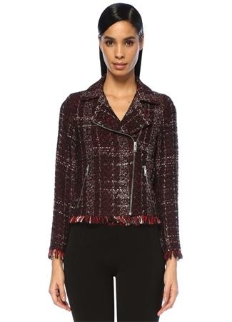 Beymen Club Kadın Kırmızı Siyah Ekoseli Püsküllü Tweed Ceket 42 EU