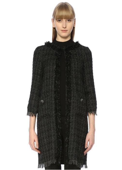 Siyah Püsküllü Örgü Dokulu Tweed Ceket