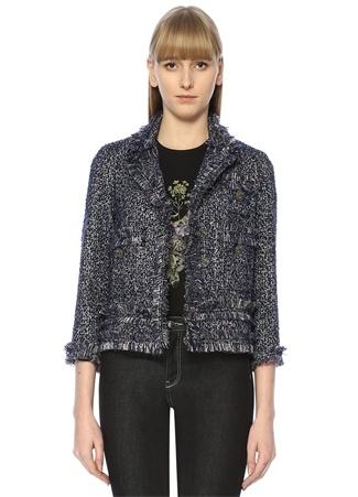 Beymen Club Kadın Lacivert Kelebek Yaka Püsküllü Tweed Ceket 38 EU