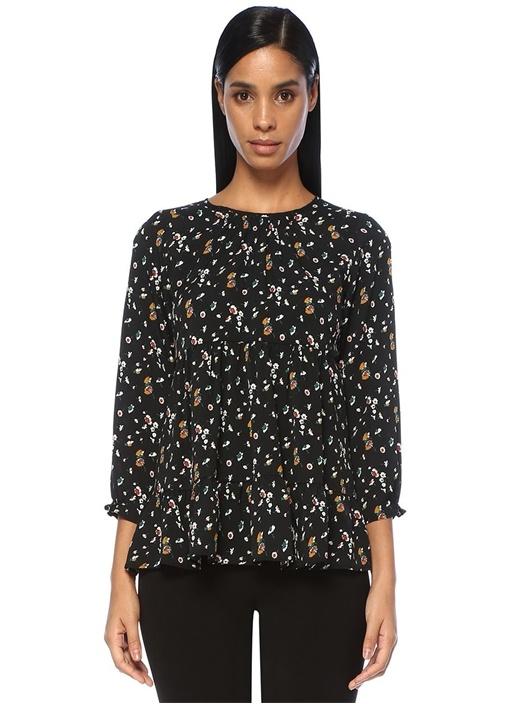 Siyah Çiçek Desenli Büzgü Detaylı Bluz