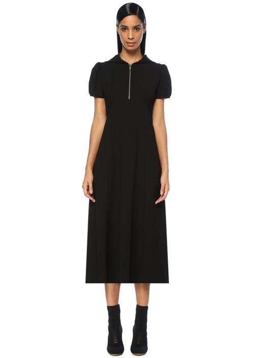 Siyah Çiçekli Kapüşonlu Karpuz Kollu Midi Elbise