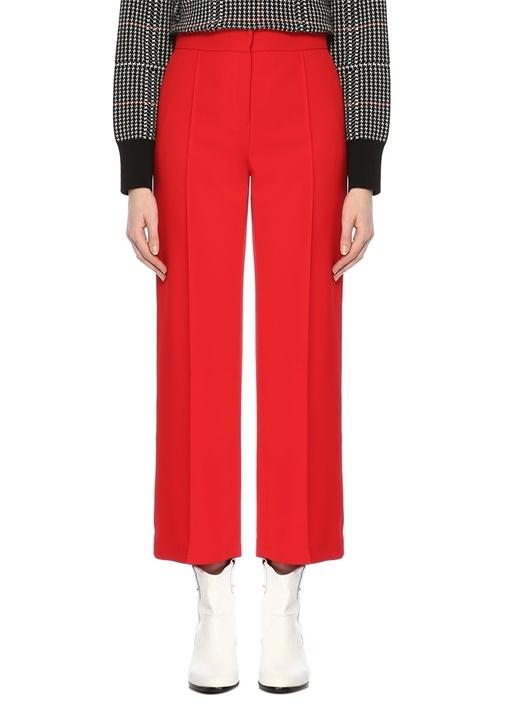 Kırmızı Yüksek Bel Nervürlü Krep Pantolon