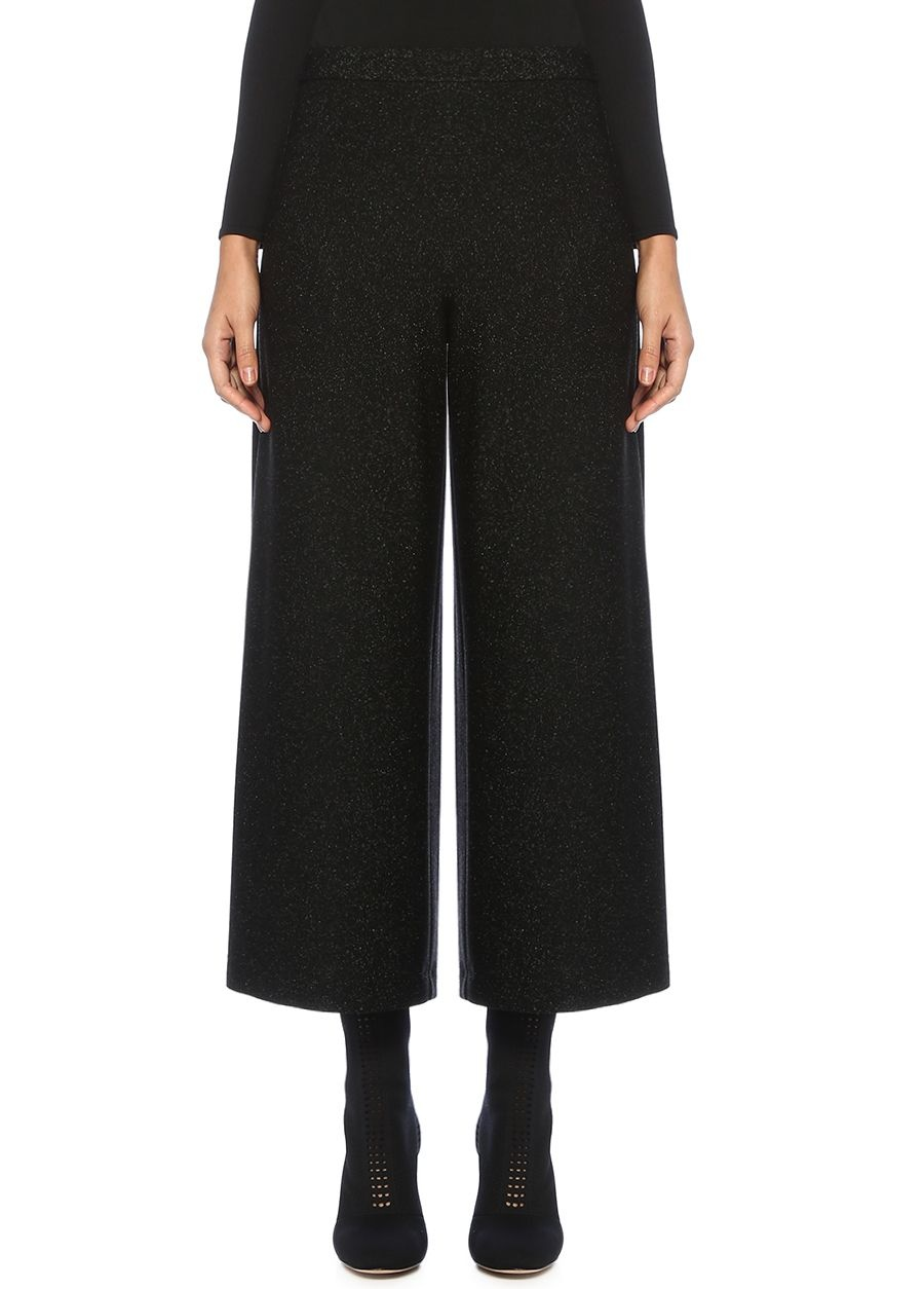 Beymen Club Siyah Yüksek Bel Simli Bol Paça Crop Pantolon