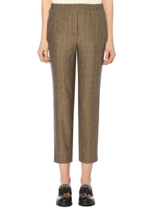 Bej Kazayağı Desenli Dar Paça Pantolon
