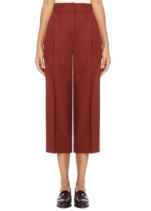 Kiremit Yüksek Bel Pileli Crop Yün Pantolon