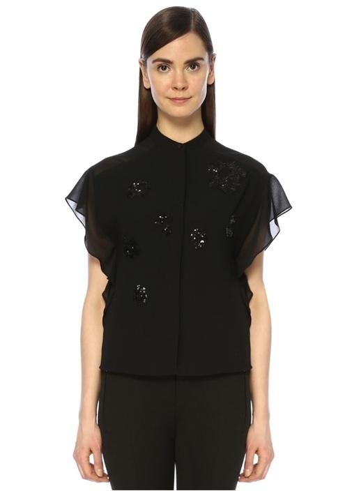 Siyah İşlemeli Şifon Detaylı Gömlek