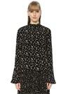 Siyah Çiçek Desenli Volanlı Bluz
