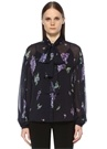 Lacivert Leylak Desenli Fularlı Şifon Gömlek