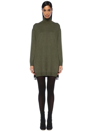 Beymen Club Kadın Haki Siyah Balıkçı Yaka Dantelli Mini riko Elbise XS