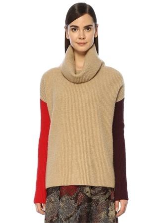 Beymen Club Kadın Bej Kolları Renk Detaylı Yün Kazak Kahverengi S