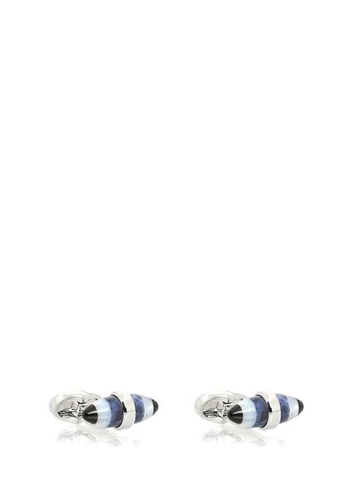 Mavi Çizgili Oval Formlu Erkek Kol Düğmesi
