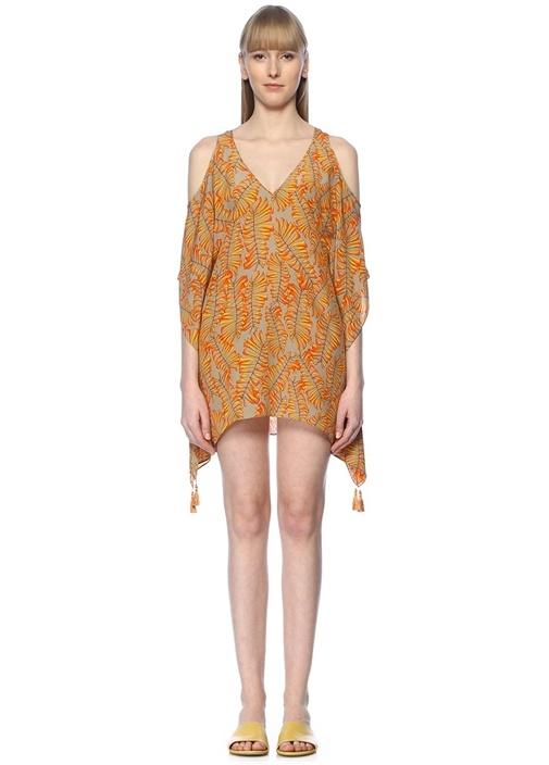 Sarı V Yaka Omzu Açık İpek Mini Plaj Elbisesi