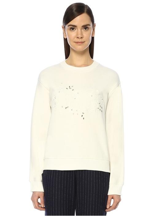 Beymen Club Beyaz Çiçek Nakışlı Basic Sweatshirt – 199.0 TL