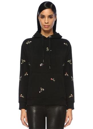 Kadın Siyah Kapüşonlu Çiçek Nakışlı Düşük KolSweatshirt XS EU