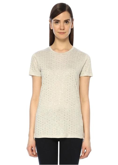 Gri Melanj Boncuk Şerit İşlemeli Basic T-shirt