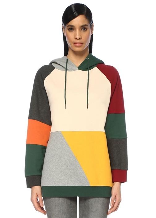 Kapüşonlu Colorblock Oversize Sweatshirt