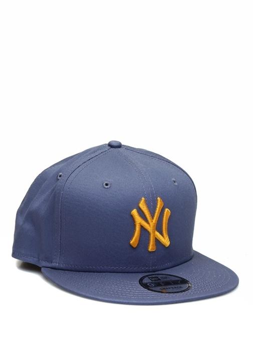 Lacivert Sarı Logo İşlemeli Erkek Şapka