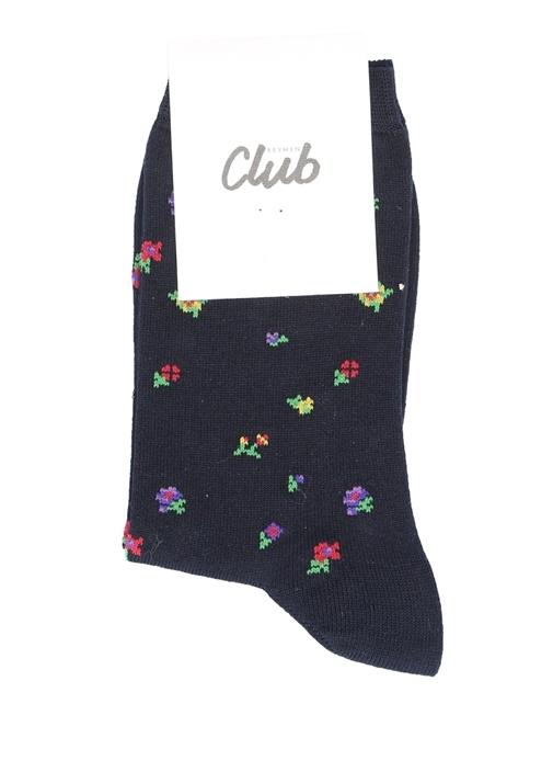 Lacivert Mini Çiçekli Kadın Soket Çorap