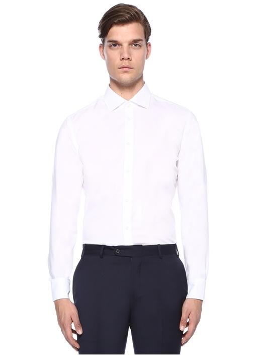 Slim Fit Beyaz Non Iron Klasik Twill Gömlek