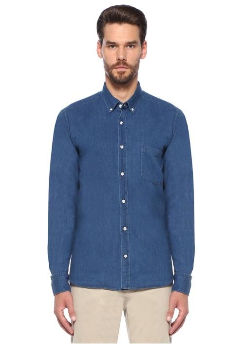 Comfort Fit Cep Detaylı Denim Gömlek