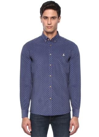Erkek Slim Fit Indigo Dairesel Çiçek Baskılı Gömlek Mavi S