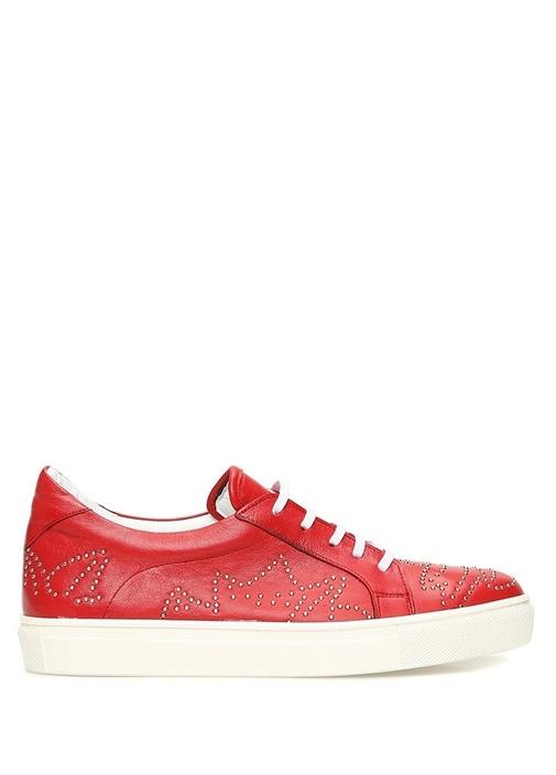 Kırmızı Troklu Kadın Deri Sneaker