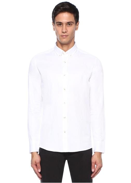 Slim Fit Beyaz Patchwork Dokulu Gömlek