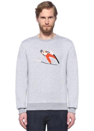 Gri Kayakçı Nakışlı Sweatshirt