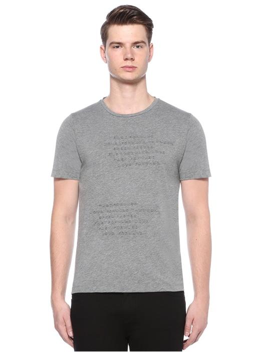 Gri Melanj Bisiklet Yaka Kabartma Baskılı T-shirt