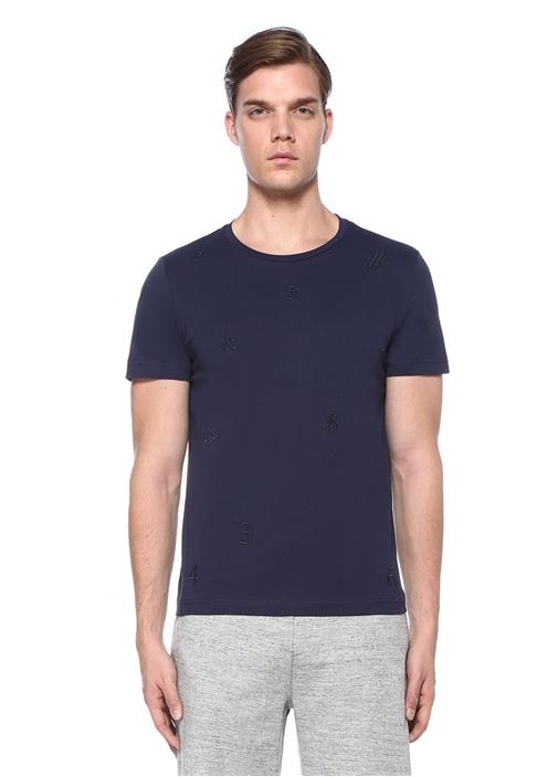 Lacivert Bisiklet Yaka Rakam Nakışlı Basic T-shirt