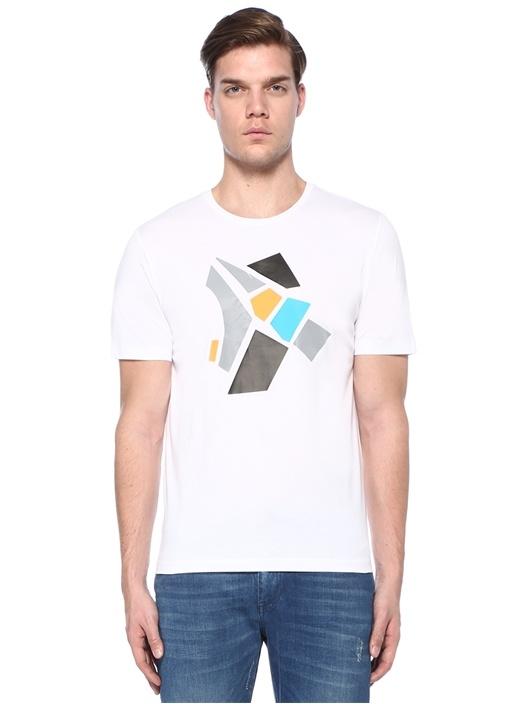Beyaz Bisiklet Yaka Baskılı T-shirt