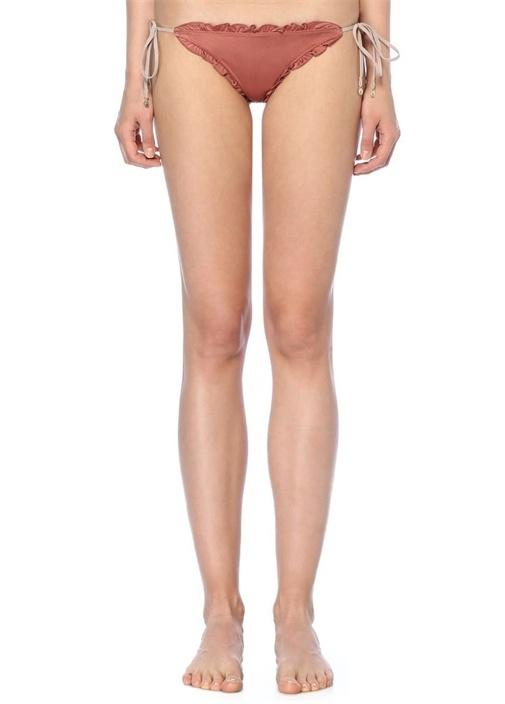 Lula Pembe Fırfırlı Arkası Nakışlı Bikini Altı