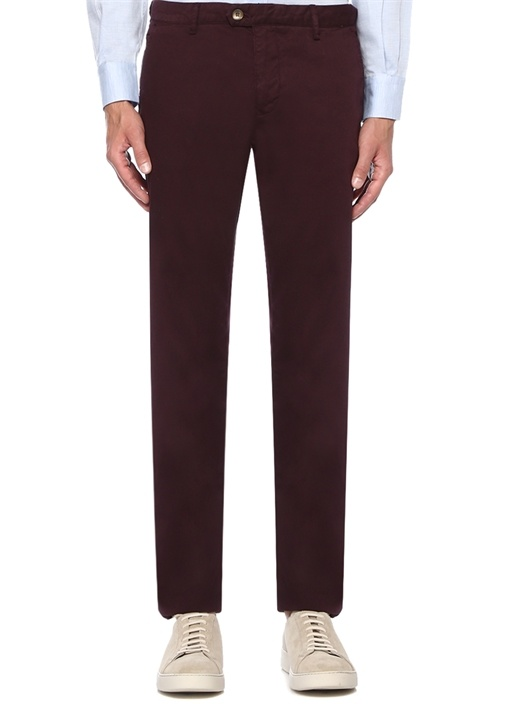 Slim Fit Bordo Dokulu Kanvas Pantolon