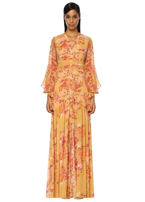 Sarı V Yaka Çiçekli Drapeli Maxi Elbise