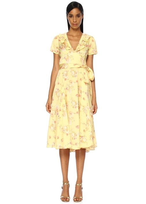 Sarı V Yaka Çiçekli Asimetrik Midi Elbise
