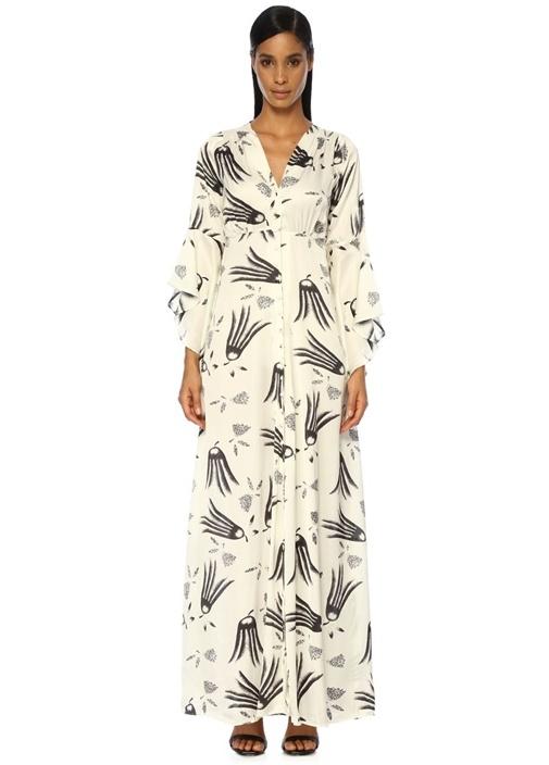 By Tımo Shiny Beyaz Desenli Kolları Volanlı Maxi Elbise – 2015.0 TL