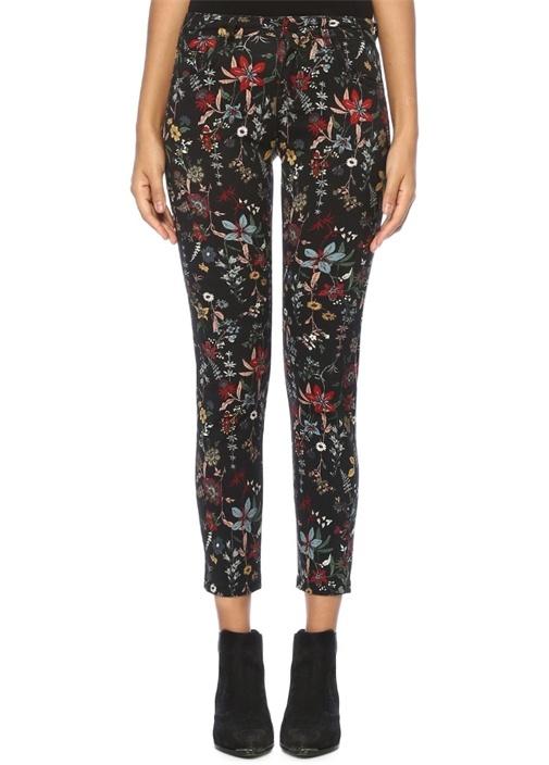 Siyah Çiçekli Normal Bel Skinny Jean Pantolon