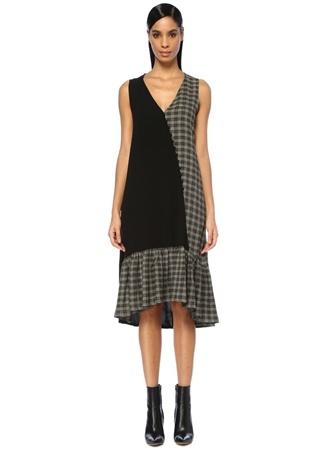 98c98b0988ea1 40 female Siyah Beymen Club Kadın Yeşil Ekose Desen Garnili Midi Elbise EU