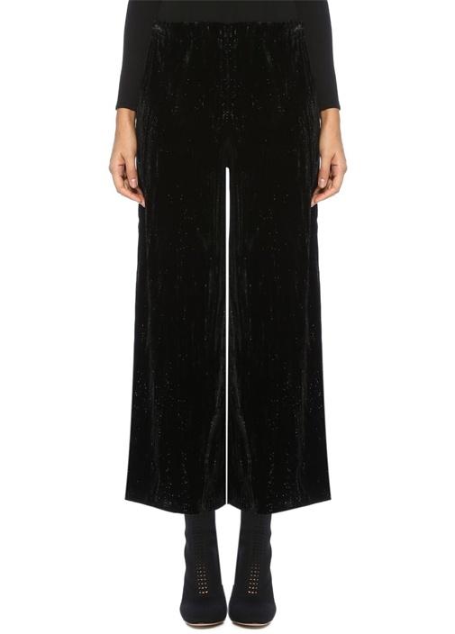 Beymen Club Siyah Yüksek Bel Simli Bol Crop Kadife Pantolon – 159.0 TL