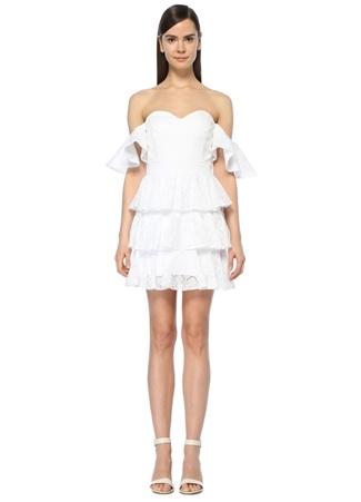 Caroline Constas Kadın IRENE Beyaz Straplez Güpürlü Mini Elbise 0 EU