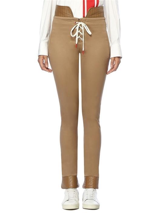 Bej Yüksek Bel Bağcıklı Dar Paça Pantolon