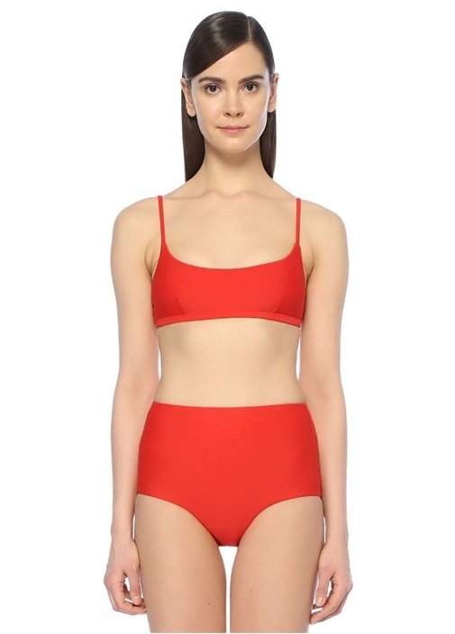 Kırmızı Crop Bikini Üstü